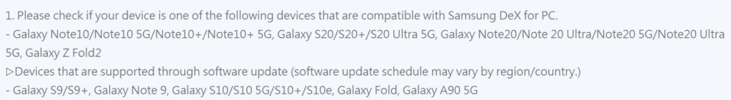 List of supported phones to use Samsung Dex on a laptop