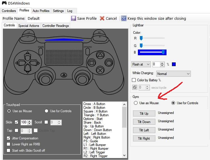 A screenshot showing how to use the PS4 gyro as a mouse