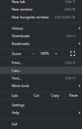option to cast with chrome browser